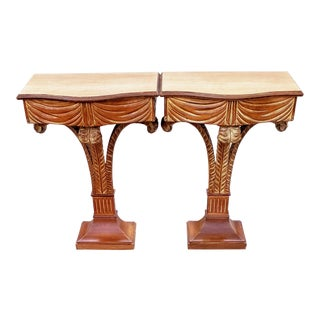 Mid-Century Modern Prince of Wales Feather Plume Grosfeld House Console Tables- A Pair For Sale