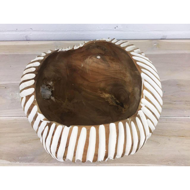 Handmade Teak Wood Bowl For Sale - Image 11 of 11