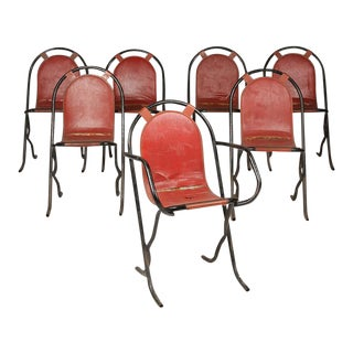 French Wrought Iron Cafe Chairs with Naugahyde Sling Seats - Set of 7 For Sale