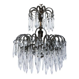 Victorian Crystal & Micro Bead Chandelier For Sale