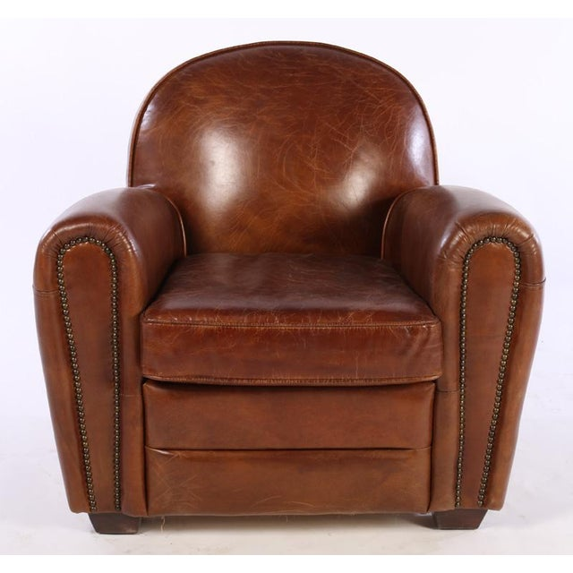 French Art Deco Style Leather Club Chairs - A Pair - Image 3 of 5