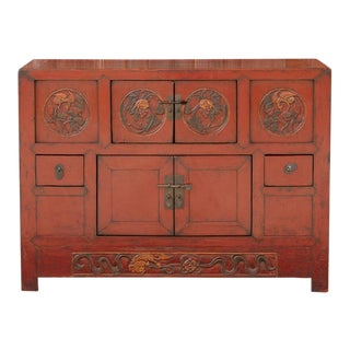 Lustrous Red Lacquered Altar Cabinet For Sale