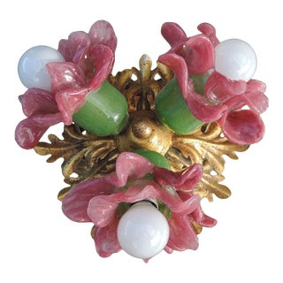 C. 1970's Mid Century Floral Pate De Verre Murano with Jansen Attribution Ceiling Flush Mount For Sale
