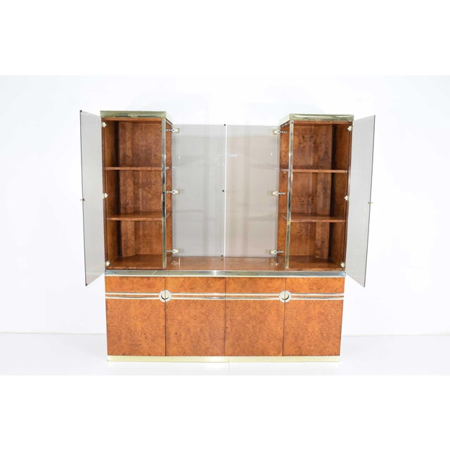 1970s Pierre Cardin Signed Burl Wood Sideboard With Two Tower Cabinets, France For Sale - Image 12 of 13
