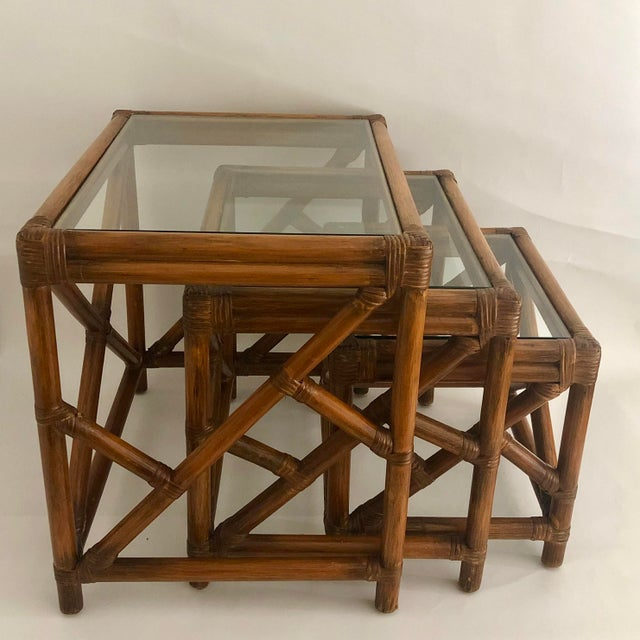 Mid-Century Bamboo Glass Top Nesting Table's - Set of 3 For Sale - Image 4 of 7