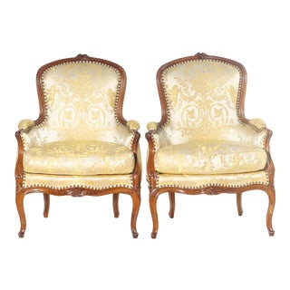 19th C. French Walnut Bergere Chairs - a Pair For Sale