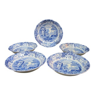 1816 Spode Cobalt Blue Hand Painted Italian Fluted Cereal Bowl Dishes - Set of 5 For Sale