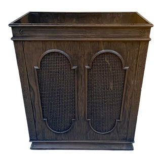 1970s Palm Beach Regency Brown Plastic Faux Wood and Caned Wastebasket For Sale
