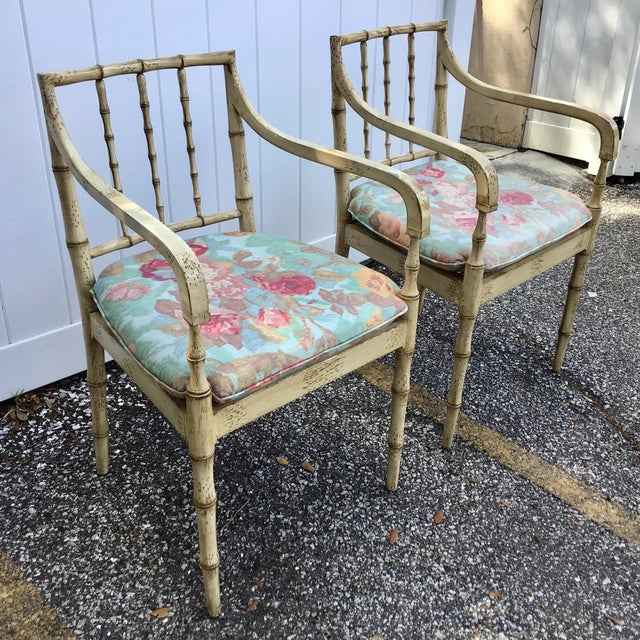 Faux Bamboo Chippendale Style Armchairs - a Pair For Sale - Image 4 of 13