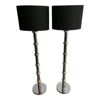 Vintage Chrome and Gold Stand-Up Floor Lamps - A Pair For Sale