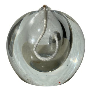 Late 20th Century Round Glass Oil Burning Lamp For Sale