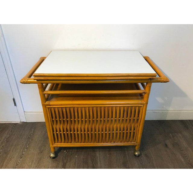 Midcentury Rattan Expandable Bar Cart For Sale - Image 11 of 13