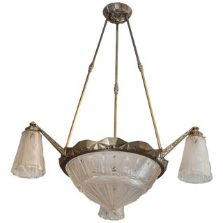 French Art Deco Chandelier Signed by Mueller Frères For Sale