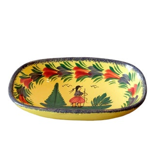 Antique French Quimper Hand Painted Ceramic Tray For Sale