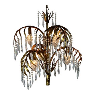 Vintage Mid-Century Palm & Crystal Chandelier