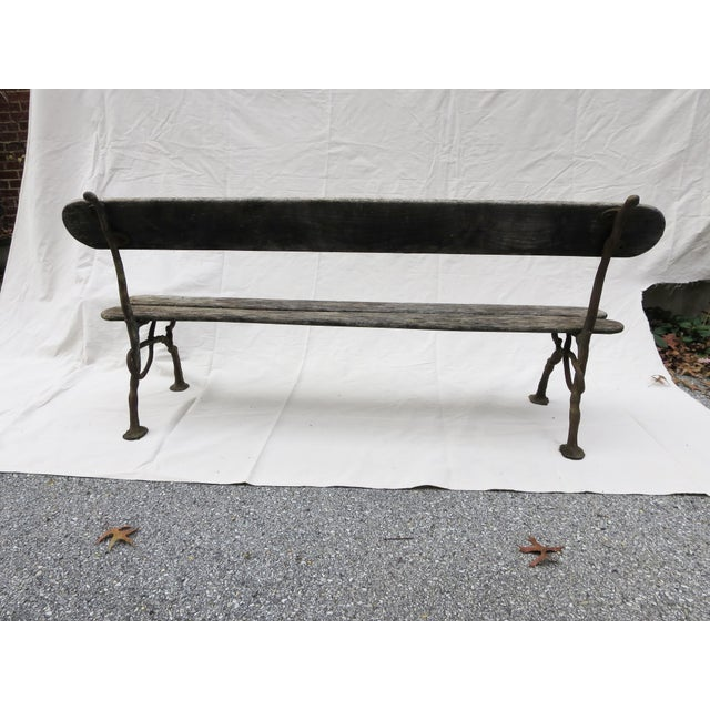 Green French Garden Bench, 19th Century For Sale - Image 8 of 9