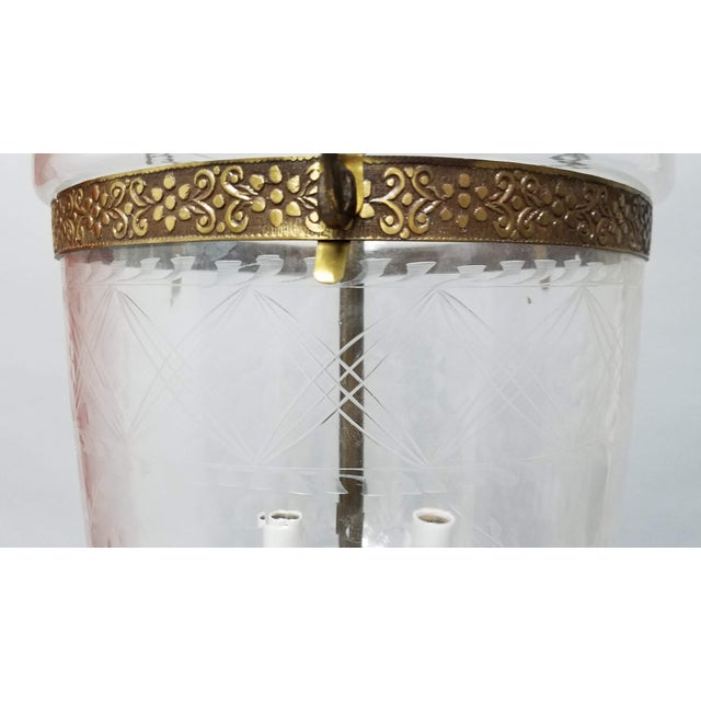 English Etched Tulip Pattern Bell Jar Lantern For Sale - Image 3 of 11