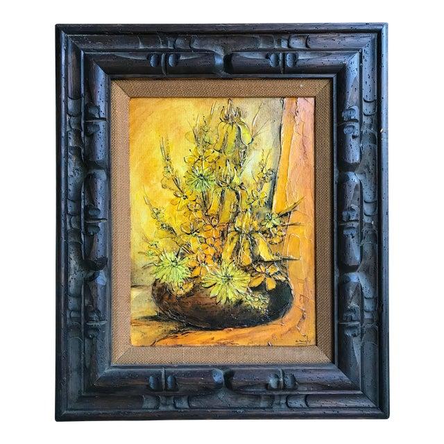 1930s Vintage Ann Rugh Backer 'Golden Floral' Original Oil Painting For Sale