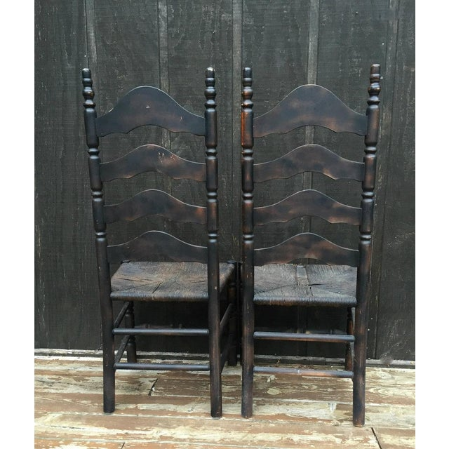 1930s French Farmhouse Ladderback Chairs - Set of 4 For Sale - Image 5 of 11