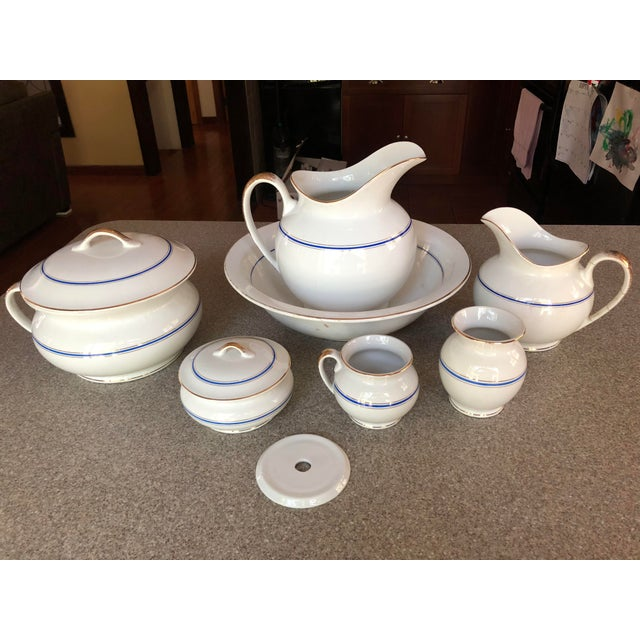 Antique Ironstone and Semi Porcelain Smith Phillips East Liverpool Ohio Empress Line Chamber Bathing Set of 10 For Sale - Image 9 of 9