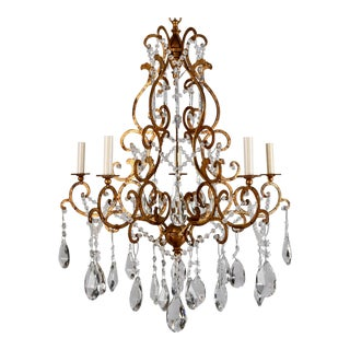 Italian Scrolled Gilt and Crystal Six Arm Chandelier c.1930 For Sale