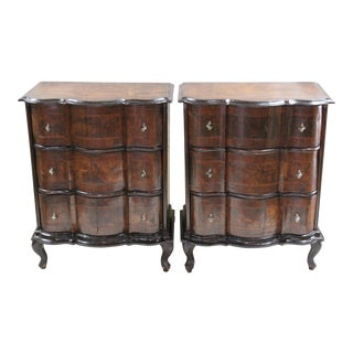 Italian Serpentine Commodes - a Pair