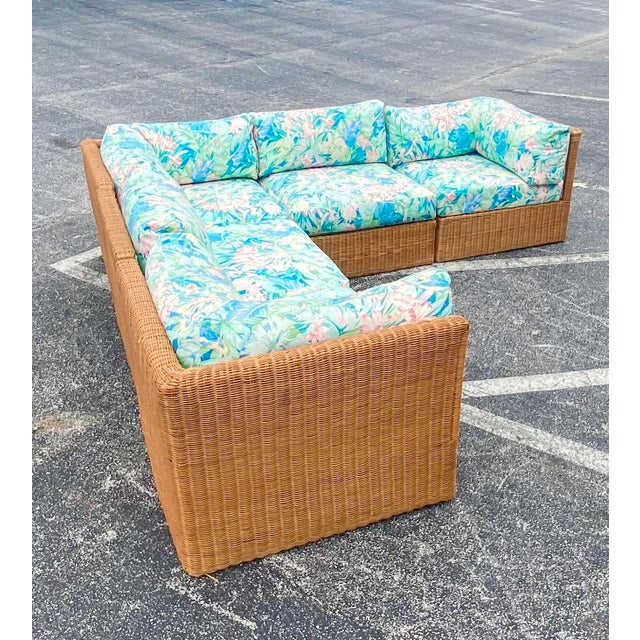 Vintage Coastal Woven Rattan Printed Sectional For Sale - Image 13 of 13