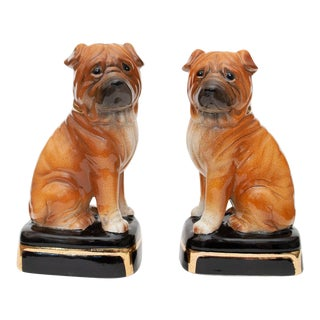 1970s Japanese Porcelain Shar-Pei Dog Bookends - a Pair For Sale