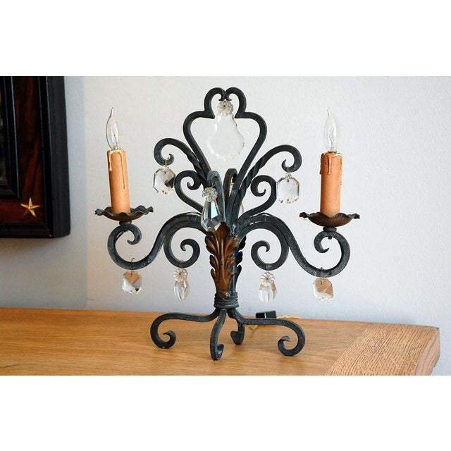 Pair of intricate French 1940s candelabra lights.