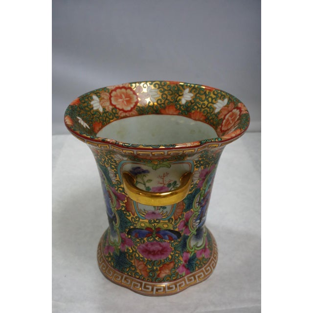 Vintage Chinese Rose Medallion Vase With Gold Handles For Sale - Image 4 of 9