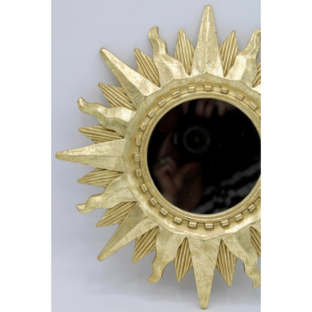 Resin Mid Century Modern Gold Sunburst Mirror For Sale - Image 7 of 13