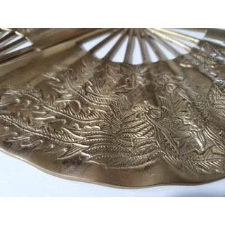 Vintage Brass Chinoiserie Wall Hanging Fan Art - Set of 2 Preview