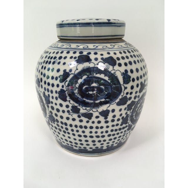 Asian Blue and White Porcelain Peony Ginger Jar For Sale - Image 3 of 5