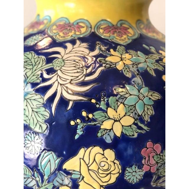 Blue Vintage Blue Chinoiserie Ceramic Vase For Sale - Image 8 of 12
