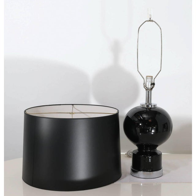 Mid Century Modern Pair of Modern Black Ceramic and Chrome Table Lamps - Image 9 of 9