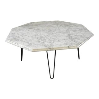 Vintage Mid Century Octagon Marble Coffee Table For Sale