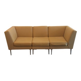 """Modern Minimal """"Design Within Reach"""" Camel Wool Sectional Sofa For Sale"""