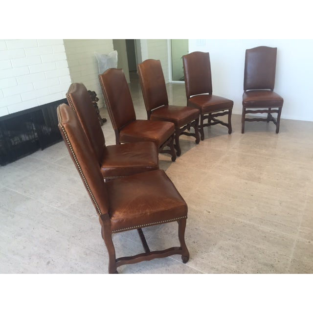 Leather Dining Chairs With Nailheads - Set of 6 - Image 2 of 9