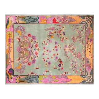 1920s Vintage Chinese Art Deco Rug - 9′ × 11′9″