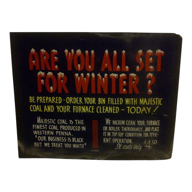 """Vintage Home Heating Coal Sign """"Majestic Coal"""" Circa 1940 For Sale"""