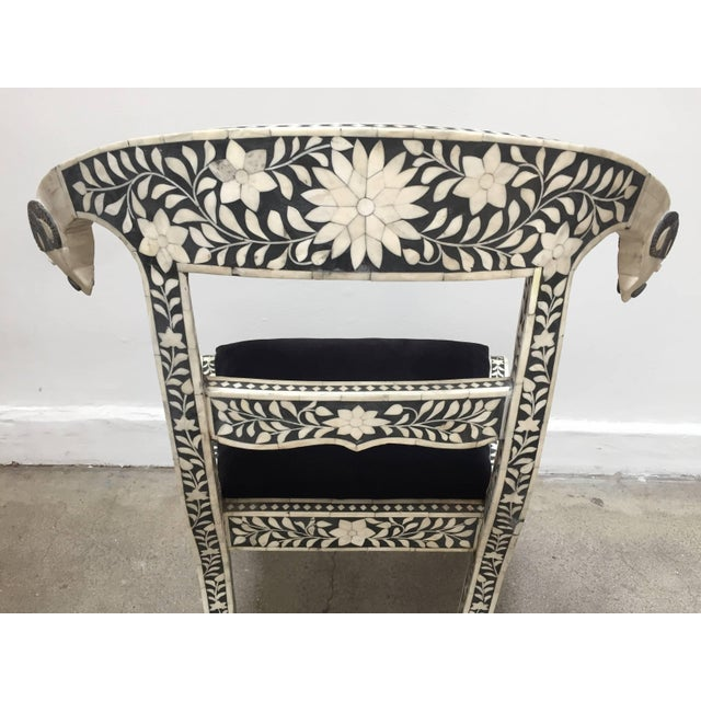 Mid 20th Century Vintage Mid Century Anglo-Indian Bone Inlaid Side Chairs With Ram's Head- a Pair For Sale - Image 5 of 11