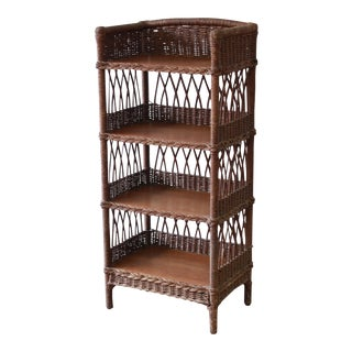 Antique Reed and Oak Bookcase by Heywood-Wakefield, Circa 1890s For Sale