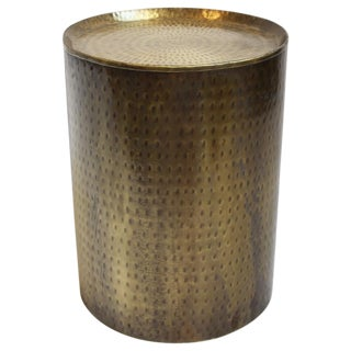 Brass Hammered Side Table For Sale