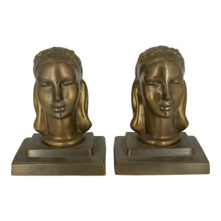 Art Deco Frankart Womens's Heads Bookends - a Pair For Sale