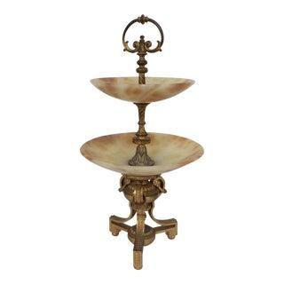Tiered Alabaster & Gilt Bronze Epergne