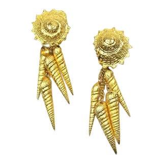 1980s Shell Motif Drop Earrings For Sale
