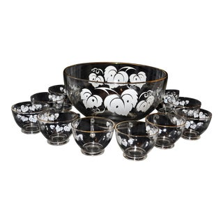 Anchor Hocking Grape Leaf Punch Bowl Set - Set of 11 For Sale
