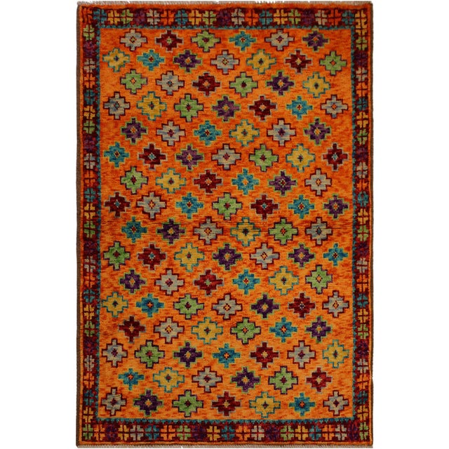 Blue Balouchi Esmerald Orange/ Blue Wool Rug - 3'7 X 4'11 For Sale - Image 8 of 8