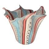 """Image of Venini Murano Latticino Handkerchief """"Fazzoletto"""" Hand Blown Glass Vase For Sale"""
