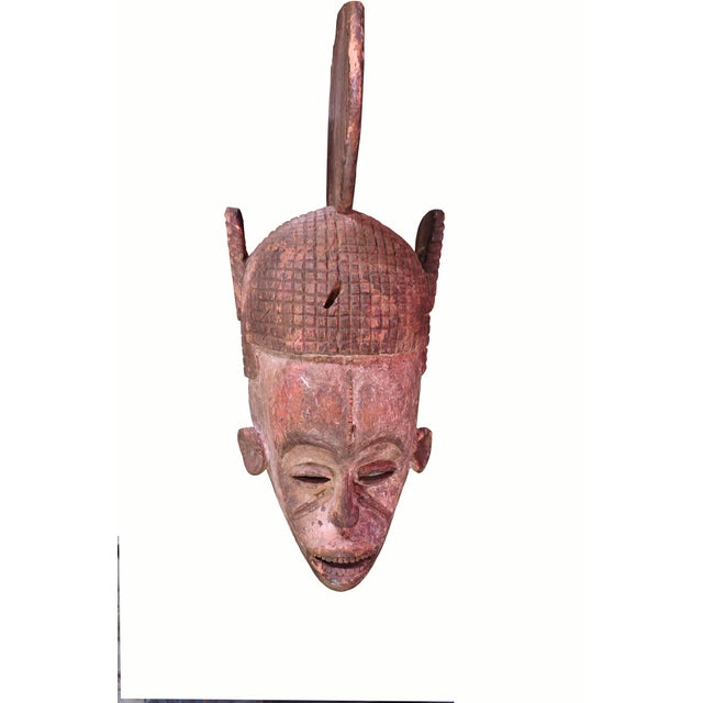 Paint Ceremonial Igbo Tribe Wooden Mask For Sale - Image 7 of 7